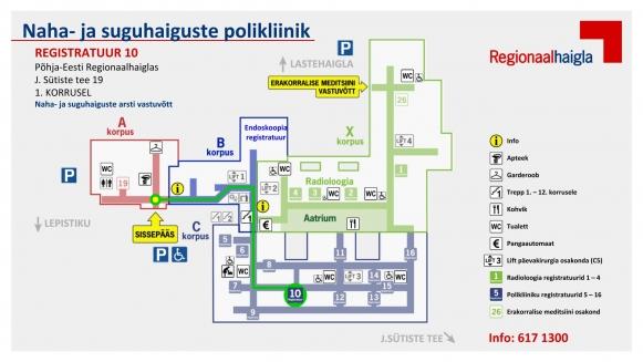 Polikliinikute teekonnakaardid registratuur 10 naha- ja suguhaiguste polikliinik