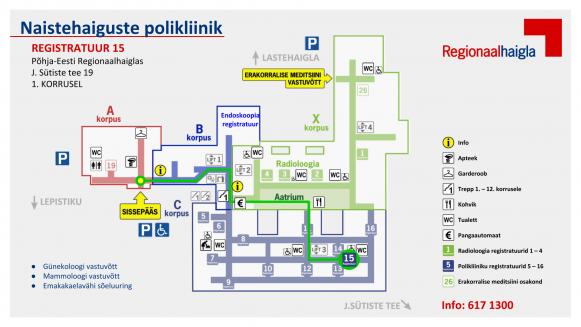 teekonnakaardid registratuur 15 naistehaiguste polikliinik